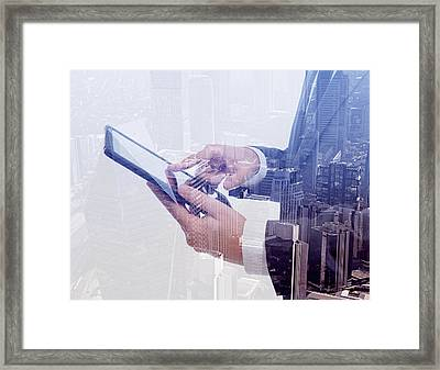 Businessman Using Tablet Pc & Double Framed Print by Hocus-focus