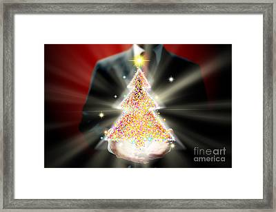 Businessman With Christmas Framed Print by Atiketta Sangasaeng