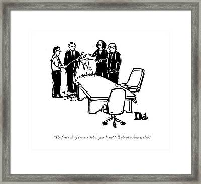 Businessmen And Women Warm Themselves On A Fire Framed Print