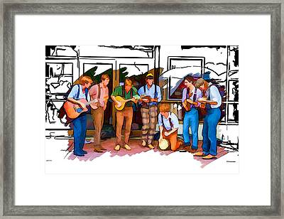 Busker Band Framed Print by John Haldane