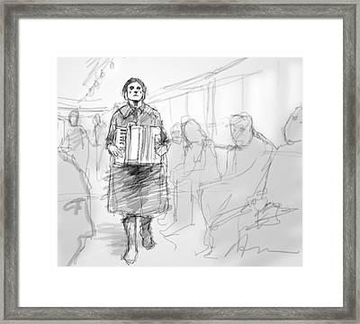 Busker On The Tram Framed Print