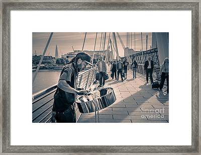Busker Playing Steel Band Drum Steelpan In London Framed Print