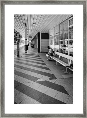 Busstop Waiting Man Framed Print