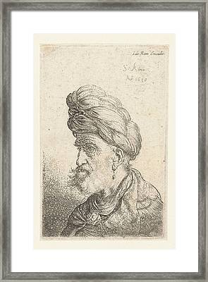 Bust Of A Man With Turban, Salomon Koninck Framed Print