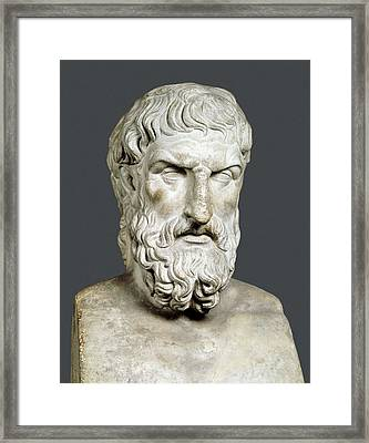 Bust Of Epicurus. 1st Half 4th Bc Framed Print