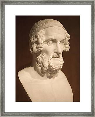 Framed Print featuring the photograph Bust Of Homer by Mark Greenberg
