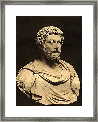 Bust Of Marcus Aurelius 121-80 Ad Marble Framed Print by English Photographer