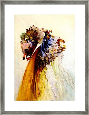 Bust Of Woman Profile Framed Print by George Victor Clairin