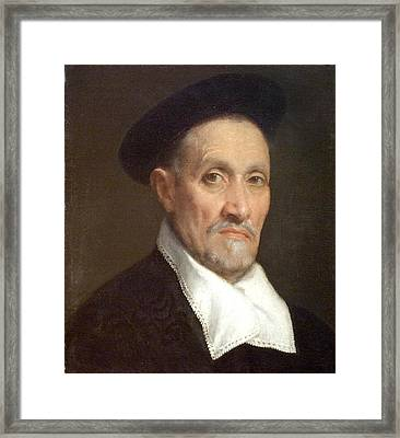 Bust Portrait Of A Magistrate Framed Print by Giovanni Battista Moroni