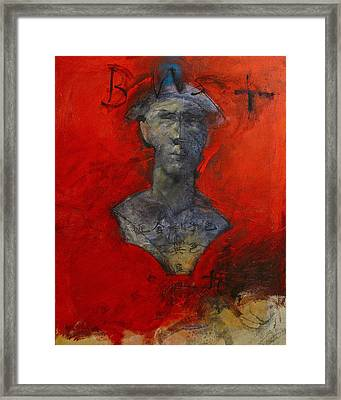 Framed Print featuring the painting Bust Ted - With Sawdust And Tinsel  by Cliff Spohn