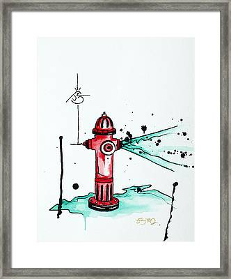 Busted Hydrant Framed Print by Emily Pinnell