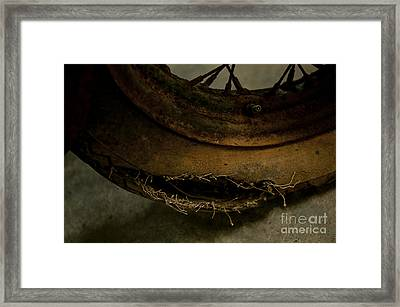 Busted Motorcycle Tire Framed Print