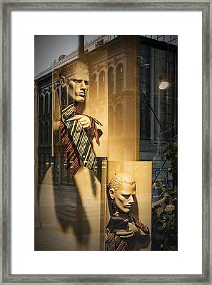 Busts With Neckties In Shop Display Window Framed Print
