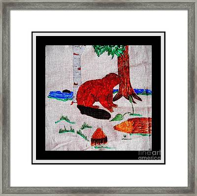 Busy Beaver Steel Engraving Framed Print by Barbara Griffin