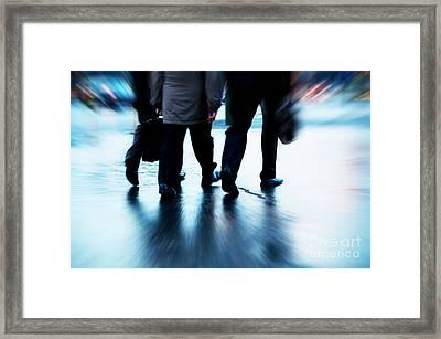 Busy Business People Walking Framed Print by Michal Bednarek