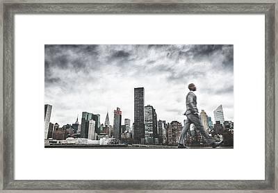 Busy Business Walking Fast On New York Framed Print by Franckreporter