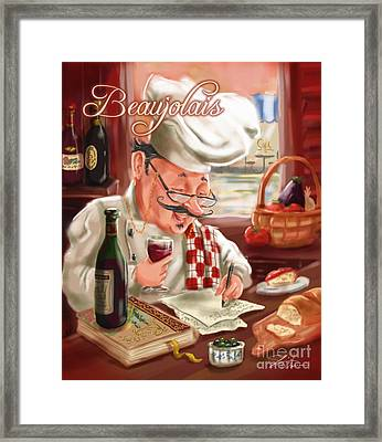 Busy Chef With Beaujolais Framed Print by Shari Warren