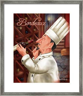 Busy Chef With Bordeaux Framed Print