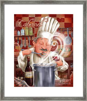 Busy Chef With Cabernet Framed Print