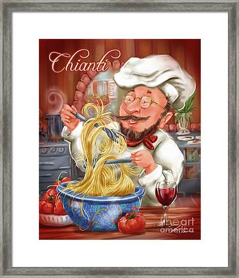 Busy Chef With Chianti Framed Print by Shari Warren