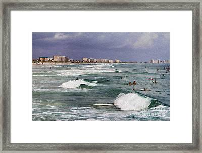 Busy Day In The Surf Framed Print by Deborah Benoit