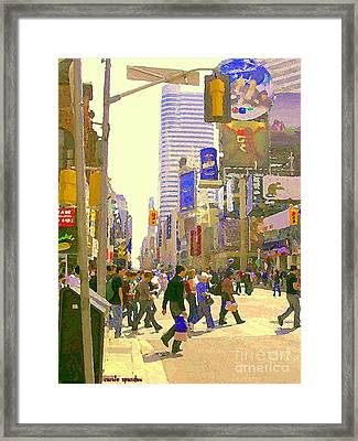 Busy Downtown Street Scene Crosswalk At Eatons Center Toronto Paintings Urban Canadian Art C Spandau Framed Print by Carole Spandau
