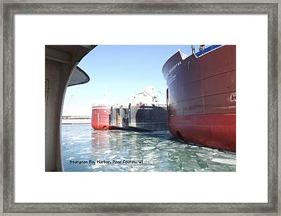 Busy Harbor Parking Framed Print