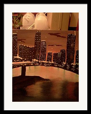 Landscape. Of City At Night And A Bridge Framed Prints