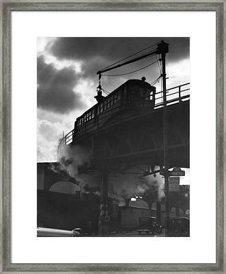 Busy Philadelphia Intersection Framed Print by Underwood Archives