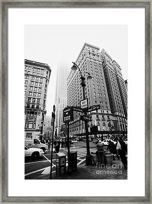 Busy Traffic Junction Of West 34th Street St And Broadway With Empire State Building Shrouded Mist Framed Print by Joe Fox