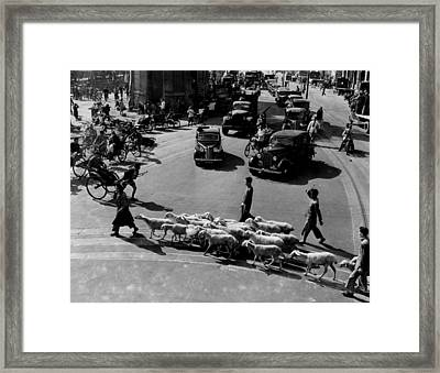 Busy Traffic Shanghai 1949 Framed Print