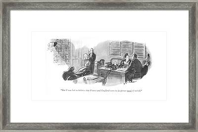 But I Was Led To Believe That France And England Framed Print by Helen E. Hokinson