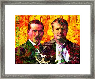 Butch And Sundance Incorporated Steampunk Machines Patent Pending 20140512 With Text Framed Print by Wingsdomain Art and Photography