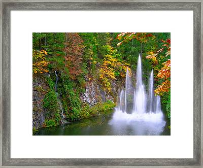 Butchart Waterfall And Fountain-- Framed Print