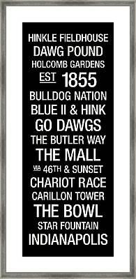 Butler College Town Wall Art Framed Print by Replay Photos