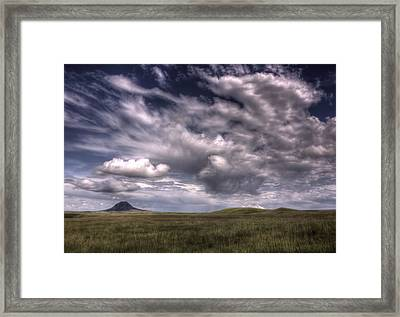 Butte In The Shadows Framed Print