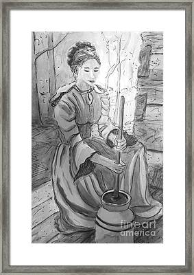 Butter Churner In Black And White Framed Print by Gretchen Allen