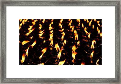 Butter Lamps In Bodhgaya Framed Print by Greg Holden