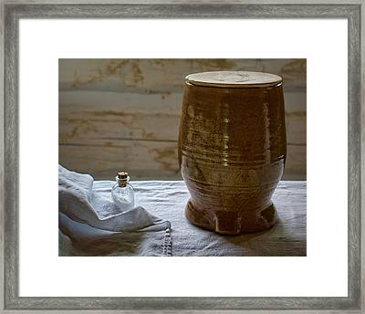 Butter Makers Crock And Salt Framed Print by Nikolyn McDonald