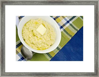 Cheese Grits With A Pat Of Butter Framed Print by Vizual Studio