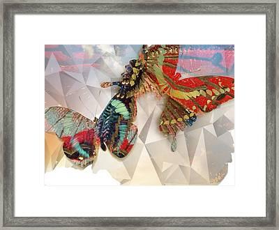 Butterflies Geometric Framed Print by Lynda Payton