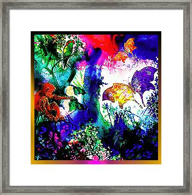 Framed Print featuring the mixed media Butterflies by Hartmut Jager