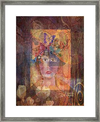 Framed Print featuring the digital art Butterflies In Her Hair by Arline Wagner