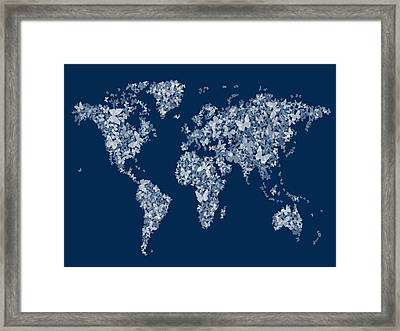 Butterflies Map Of The World Map Framed Print
