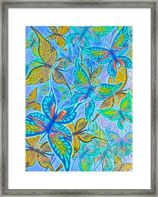 Framed Print featuring the mixed media Butterflies On Blue by Teresa Ascone