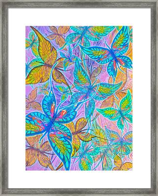 Framed Print featuring the mixed media Butterflies On Lilac by Teresa Ascone