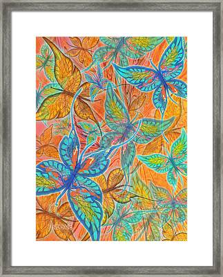 Framed Print featuring the painting Butterflies On Tangerine by Teresa Ascone
