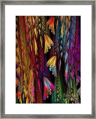 Butterflies On The Curtain Framed Print by Klara Acel