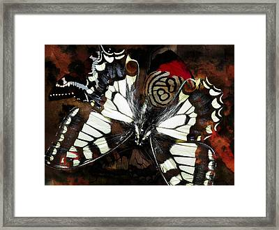 Butterfly Abstract Red Framed Print by Lynda Payton