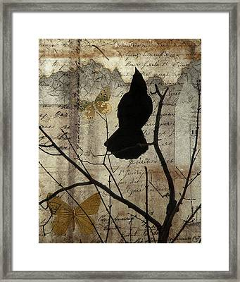 Butterfly And Crow Collage Framed Print